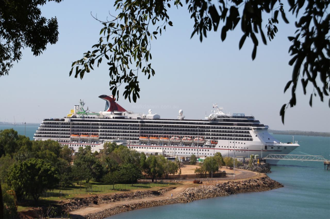 The Carnival Spirit Cruise Ship docked in Darwin